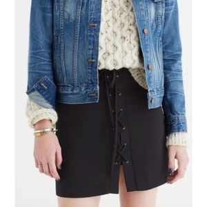 NEW Madewell Black Lace Up Mini Skirt